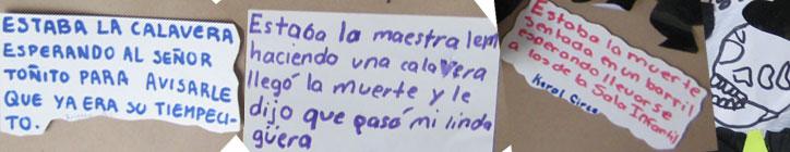 Funny verses written by kids about día de muertos