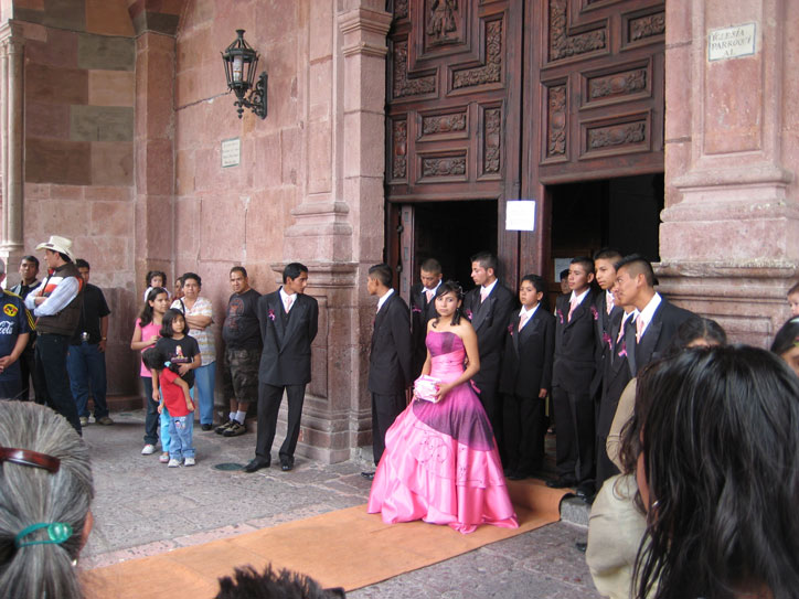 A quinzañera leaving church (quinzañera is the 15th birthday, a very big deal for girls here)
